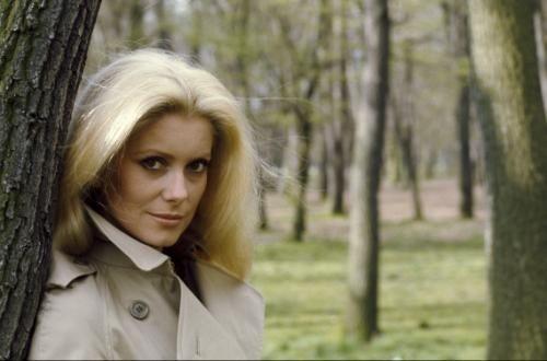 Plan de trois-quarts souriant de Catherine DENEUVE en imperméable beige, appuyée à un arbre.