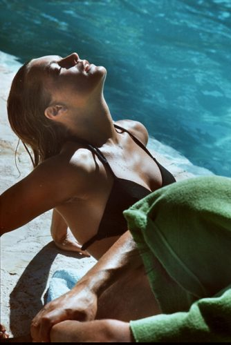 Romy Schneider sur le tournage de la piscine 1968