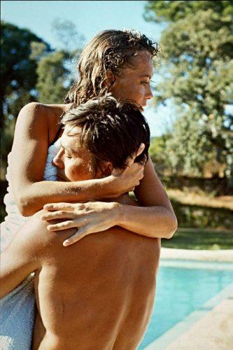 Pendant le tournage de La Piscine de Jacques Deray, 1968 (©Philippe Le Tellier/Paris Match/La Galerie de l'Instant)